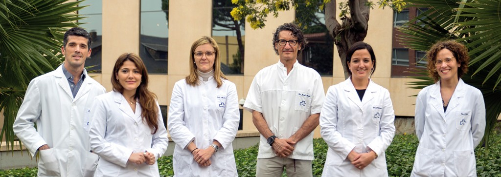 The Institut de la Màcula's current medical team. From left to right, Dr. José Nieto; Dr. Lucia Ferraro; Dr. Marta Pazos; Dr. Jordi Monés; Dr. Paula Verdaguer and Dr. Anna Sala.