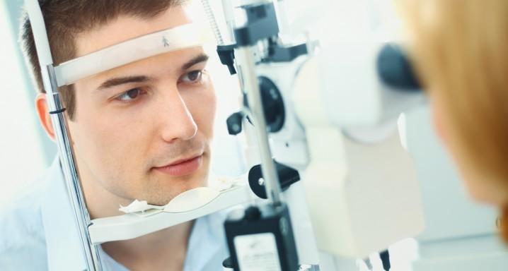 Examination at optician's offfice.